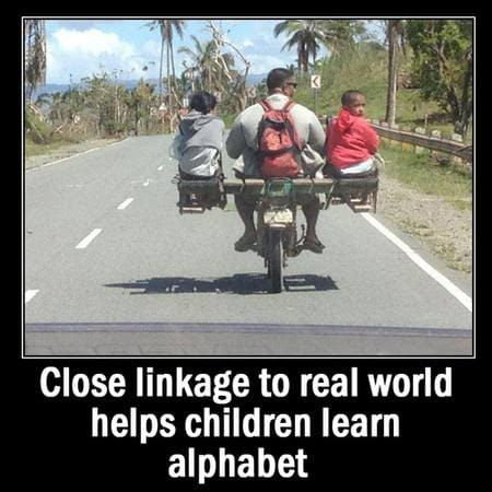Close linkage to real world helps children learn alphabet