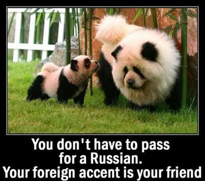 You don't have to pass for a Russian. Your foreign accent is your friend.